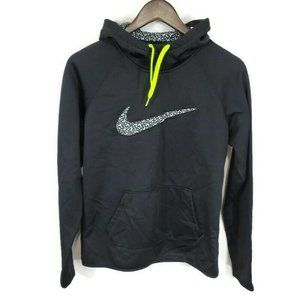 Nike Womens Therma Fit Activewear Hoodie Size S Black White Neon Green Warm